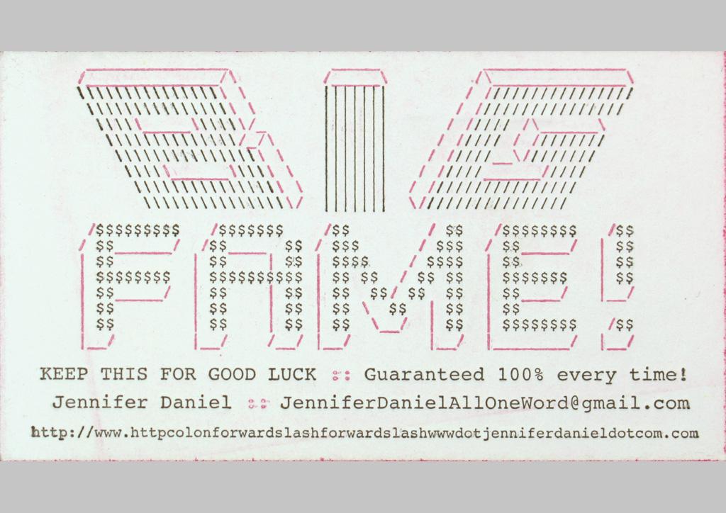 Business card for Self-Promotion by Jennifer Daniel
