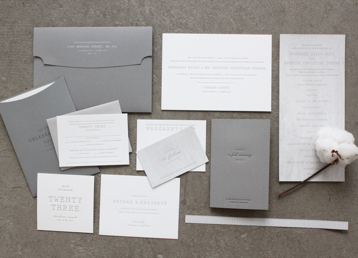Wedding Materials for Margaret & Patrick by Stitch Design Co.