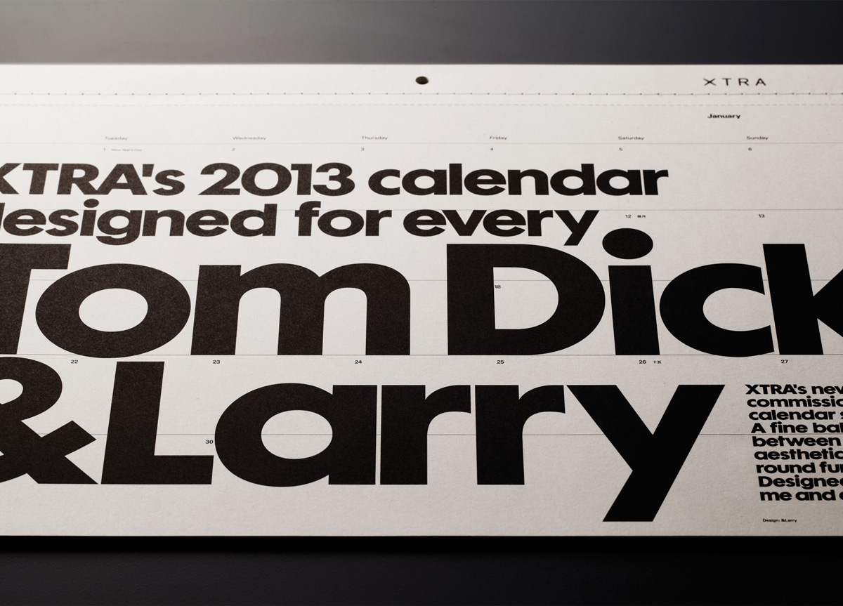 Calendar for XTRA by &Larry
