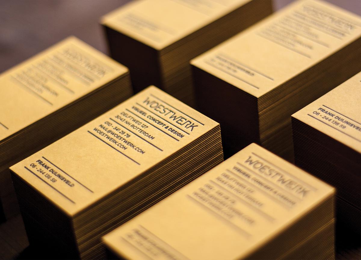 Business Card for Woestwerk by Letterpress Winkel