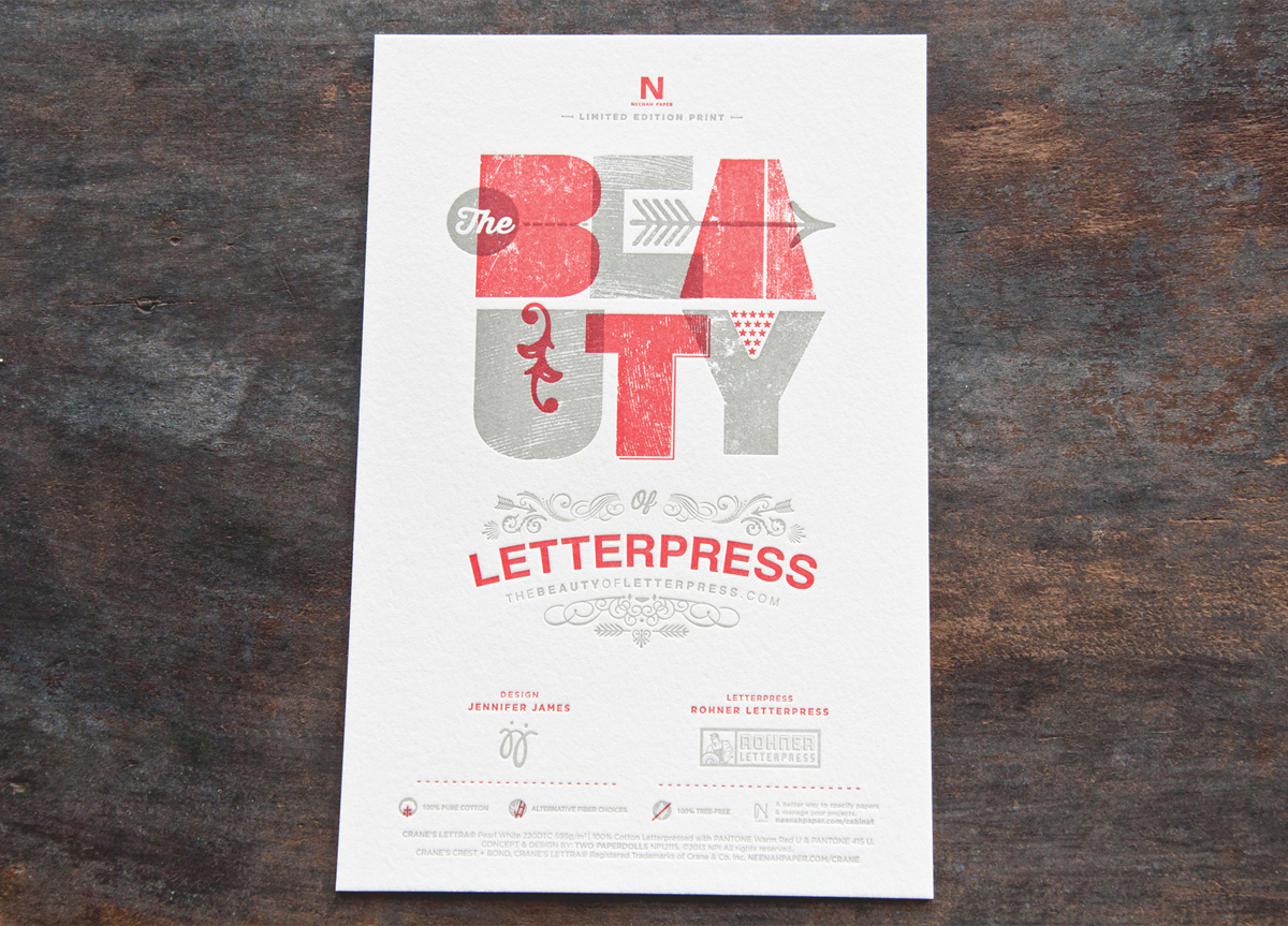 Art Print and Coasters for The Beauty of Letterpress by Neenah Paper and Two Paperdolls
