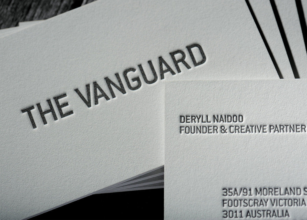 Business card for the vanguard agency by chapel press 2012 fpo awards business card for the vanguard agency by chapel press reheart Choice Image