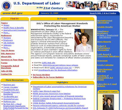 U.S. Department of Labor Web Site